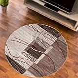 Tapis Salon Cercle BRANCHES FINES Ecru Différentes Dimensions S-XXL (100 x 100 cm)