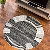 Tapis Salon Cercle MIROIR ARRONDI Noir Différentes Dimensions S-XXL (150 x 150 cm)