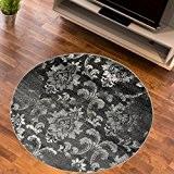 Tapis Salon Cercle MOTIF FLEURI Anthracite Différentes Dimensions S-XXL (100 x 100 cm)