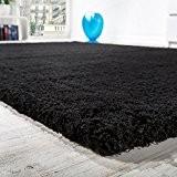 Tapis Salon Micro Polyester Shaggy Élégant Résistant À Haut Poil Long En Noir, Dimension:80x150 cm