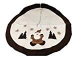 Tapis sapin Noël en feutrine décorée D90cm - Marron et blanc