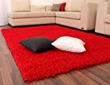 Tapis Shaggy Longues Mèches En Rouge, Dimension:200x200 cm carré