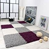 Tapis Shaggy Longues Mèches Hautes Carreaux Violet Gris Blanc, Dimension:120x170 cm