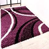 Tapis Shaggy Longues Mèches Hautes Motifs Violet Noir Blanc, Dimension:120x170 cm