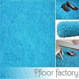 Tapis shaggy longues mèches Loca bleu turquoise 80x150cm - tapis de salon au prix avantageux