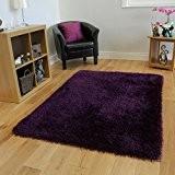 Tapis Shaggy Luxeuse Violet Uni Poils Brilliants - 7 Tailles