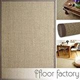 Tapis Sisal Taupe gris 130x190 cm 100% fibre naturelle, bordures en coton