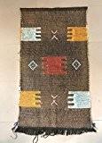 Tapis soie de Sabra et coton Tapisserie ethnique orientale africain Maroc original