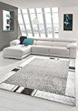 Tapis style baroque, poil ras gris Beige Noir Blanc Crème (Dream-Casa) Größe 80x150 cm