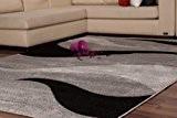 Tapis Tapis Moderne Relief Vagues Design Poil ras NEUF SOLDES Gris Noir - 160cm x 230cm