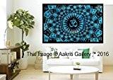 Tapisserie Turquoise simple complet Om mur Décoration Art Mandala tapisseries Hippie ou Résidence 213,4x 139,7cm aakriti Galerie