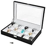 TecTake Coffret pour 24 montres avec serrure boîte à montre noir blanc