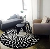 Thibaude Indoor Élégant, noir, blanc, rond, salon, table basse, grand, tapis Tapis de sol, tapis de sol ( taille : ...