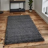 Think Rugs Vista 2236 Shaggy Tapis thermofixé Gris foncé, 200 x 290 cm