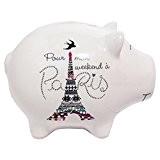 Tirelire Cochon Blanc PARIS - TOUR EIFFEL - Blanc
