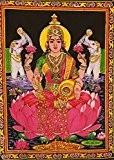Tissu en coton Mangue Gifts déesse Laxmi Tapisserie/Lakshmi 78,7x 101,6cm Inde avec paillettes travail