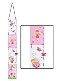 Toise en bois rose et blanche sur le thème petit ange pour une chambre de fille