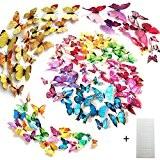 Tomkity 96 3D Stickers Muraux Autocollant Mural de Papillons Sticker Mural Autocollants pour décoration avec les Tailles Différentes