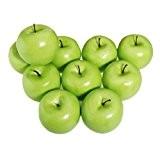 TOOGOO(R)12pcs decoratifs grandes artificiels Faux Fruits pomme vert en plastique decorations pour Maison Part