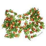 TOOGOO(R) 2pcs Plantes Grimpantes Artificielles de Jasmin d'hiver pour la Decoration de Jardin / Maison - Jaune rougeatre