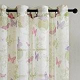 Top Finel Rideaux Voilages de fenêtre Papillon Fatastique pour Cuisine Salon Chambre,140cm x 245cm, à Oeillets,un Paneau, Blanc