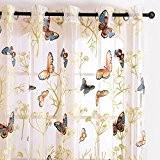 Top Finel Rideaux Voilages en voile Papillions de fenêtre pour Salon, à oeillets, 140cm(longueur)x215cm(largeur), à oeillets, un paneau