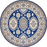 Traditionnel 1,5 par 1,5 (5 'x 5') Tapis rond Tribeca Zone Bleu marine