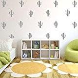 Transer DIY créatif Crescent Cactus amovible Wall Stickers chambre salon décoration (Gris)