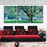 Trois verts de peintures murales à ossature de bois salon jet d'encre peintures de paysages frais chambre peinture décorative triptyque ...