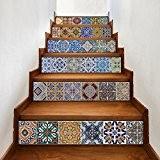 Tuile Autocollants Backsplash, Bricolage imperméable Peel et Stick Home Décor Talavera StairCase Decal Stair Mural décalques pour la cuisine Salle ...