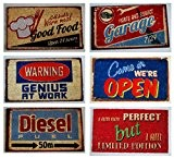 Txt Paillasson d'extérieur en fibre de coco 40 x 70 cm Diesel Garage Good Food Warning Open But à choix