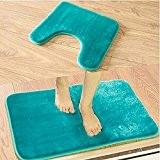 U Tapis Antidérapant Tapis De Type Toilettes Salle De Bains Deux Pièces D'Aspiration Pied Pad 45X45Cm45X75Cm , Bleu Canard
