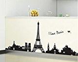 ufengke® Paris Tour Eiffel Ville Silhouette Stickers Muraux, Salle de Séjour Chambre à Coucher Autocollants Amovibles