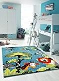 Un Amour de Tapis 33885 Kids Safari Tapis pour Enfant Polypropylène Bleu 80 x 150 cm