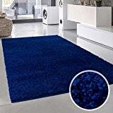 Uni shaggy tapis à poils longs uni bleu ronde et rectangulaire neuf certifié öko tex, Polypropylène, bleu, 200 cm_x_290 cm