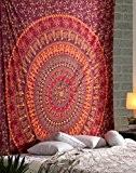 Unique Orange Tapisserie ethnique Tapestry en coton floral Bohemian Wall Hanging Mur Suspendu Par Rajrang