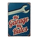 UQ Plaque Métallique Vintage Rétro 20x30cm Slogan Tableau métal Garage Série, Clef Bleu