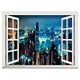 UQ Poster mural En vinyle papier peint-Auto-adhésif-61x81cm-Trompe l'oeil fenêtre-Removable-Gratte-ciel Vue nocturne-Décoration murale