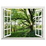 UQ Poster mural En vinyle papier peint-Auto-adhésif-91x122cm-Trompe l'oeil fenêtre-Removable-Grand arbre Printemps-Décoration murale