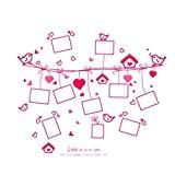 UQ Sticker mural Amovible Cadre photo Pêle-mêle Cœur Rose Décoration de la maison