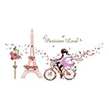 UQ Sticker mural Autocollant Amovible Creative DIY Décoration murale Paris fille Rose