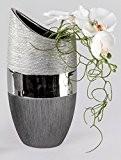 Vase décoratif moderne Vase à fleurs en céramique Luxor argenté Hauteur 20 cm
