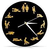 """'VENKON Kamasutra Sex Horloge murale """"Beaucoup Sex non seulement pour six Horloge avec Erotiques Sex stellungen–30cm–Noir"""