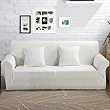 VERCART Housse de Canapé Couverture Extensible Décoration de Salon 2 Places Blanc