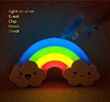 Vicloon Veilleuse LED Arc-en-Ciel Autocollant Mural Lampe de Nuit, Capteur de Sonore Détection pour Chambre de Bébé