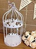 Vintage style métal blanc cage à oiseaux Bougeoir Coeur Détail Hanging décoration en bois Dove de mariage