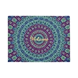 Violet bleu et vert Mandala Paillasson en caoutchouc antidérapant extérieur intérieur Tapis de maison de 60x 40cmentrance façon Tapis de ...