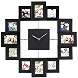 VonHaus Horloge Murale 12 cadres photos - Noire - 35.5 x 35.5 x 4.8 cm