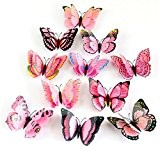 Vovotrade 12x 3D papillon Autocollant Mural Aimant Room Decor Decal Rose