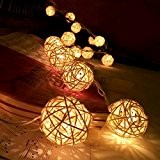 Vovotrade 20 LED Blanc Chaud rotin Boule cordes Guirlande lumineuse Pour Xmas Party Hot mariage